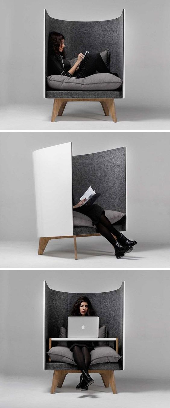I like the idea of having a really personal sitting space like this. I think this could be built from wood easily. Would be great near the wood stove