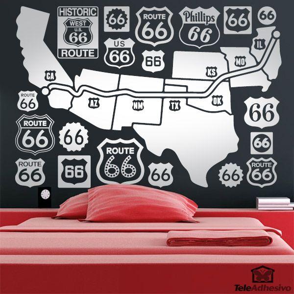 Vinilo decorativo Mapa y logos Route 66