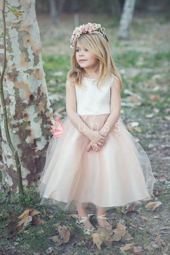 d85c641a41f7 Satin and tulle ivory and blush two-tone flower girl dress, Sleeveless dress  for