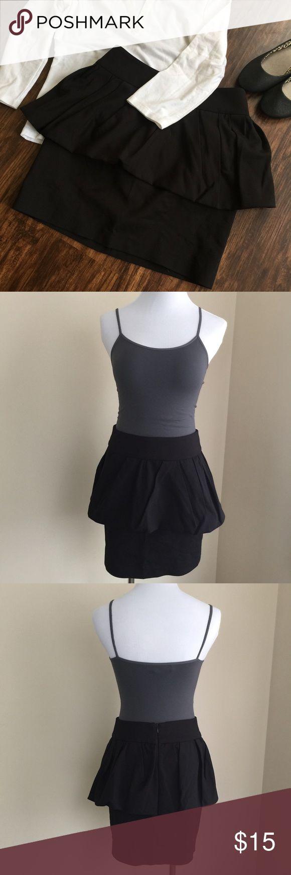 """Zara black peplum skirt sz S Zara Woman black peplum skirt, size S.  Mini length, hidden back zip, wide waistband.  Condition:  excellent pre-loved.  Material:  51% cotton/46% polyester/3% elastane.  Measurements (approximate, taken laying flat):  length 16"""", flat waist 14"""", flat hip 16.5"""". Zara Skirts Mini"""