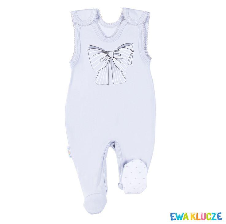 EWA KLUCZE, kolekcja CLASSIC BABY, szary śpioch dla dziewczynki, ubranka dla dzieci, EWA KLUCZE, CLASSIC BABY collection, grey baby girl, baby clothes