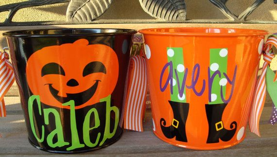 Personalized Halloween Buckets 5 qts - multiple colors and designs available. $20.00, via Etsy.