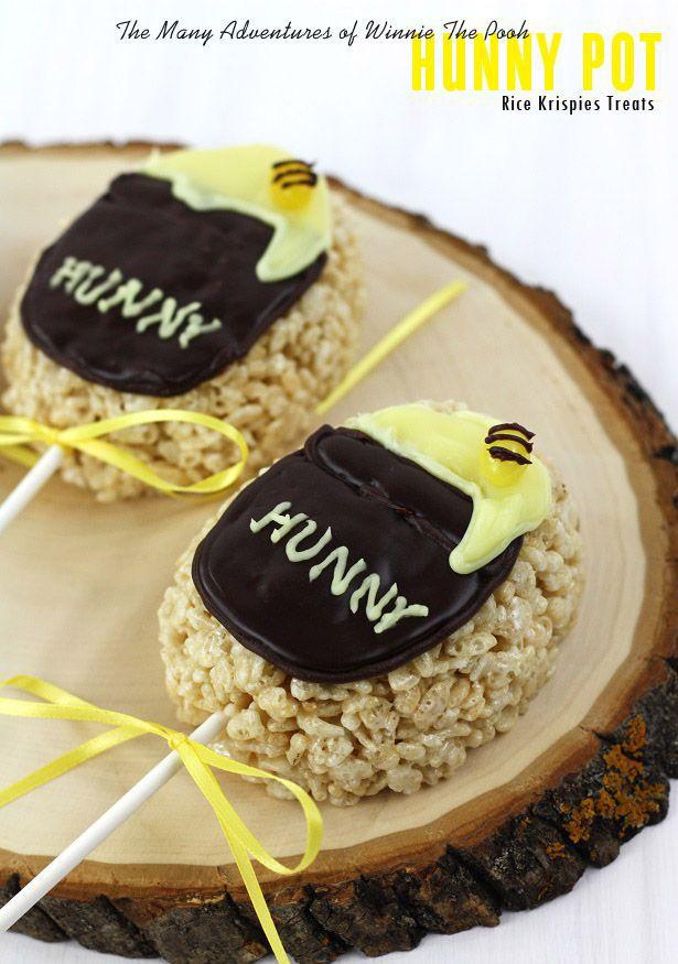 Hunny Pots Rice Krispy Treats for a Winnie the Pooh Movie Night!