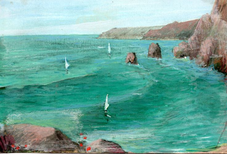 PAOLO SALVATI - Paesaggio marino - Opere di fantasia - 1980.