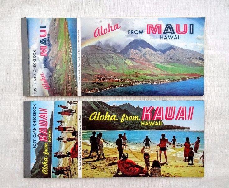 Vintage HAWAII POST CARD CHECKBOOKS - Maui Kauai - 20 Postcards Ephemera USA #Vintage