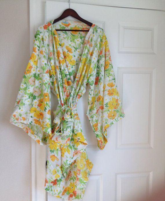 Cotton Kimono Robe - Getting Ready Robe - Dressing Gown - Knee Length - Summer Robe  - Vintage Pattern - Vintage Robe