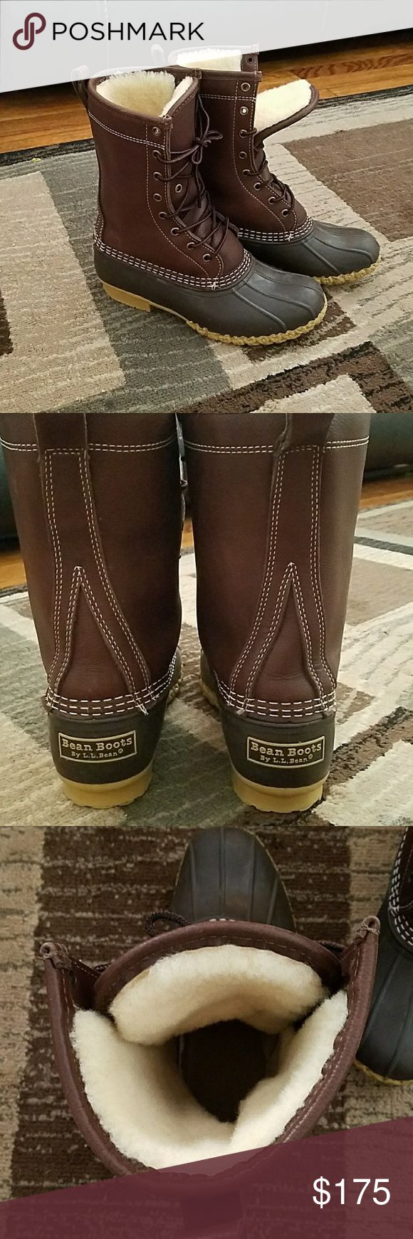 LL Bean boots Tall brown limited edition lined boots. Size 7 but runs really big LL bean Shoes Winter & Rain Boots