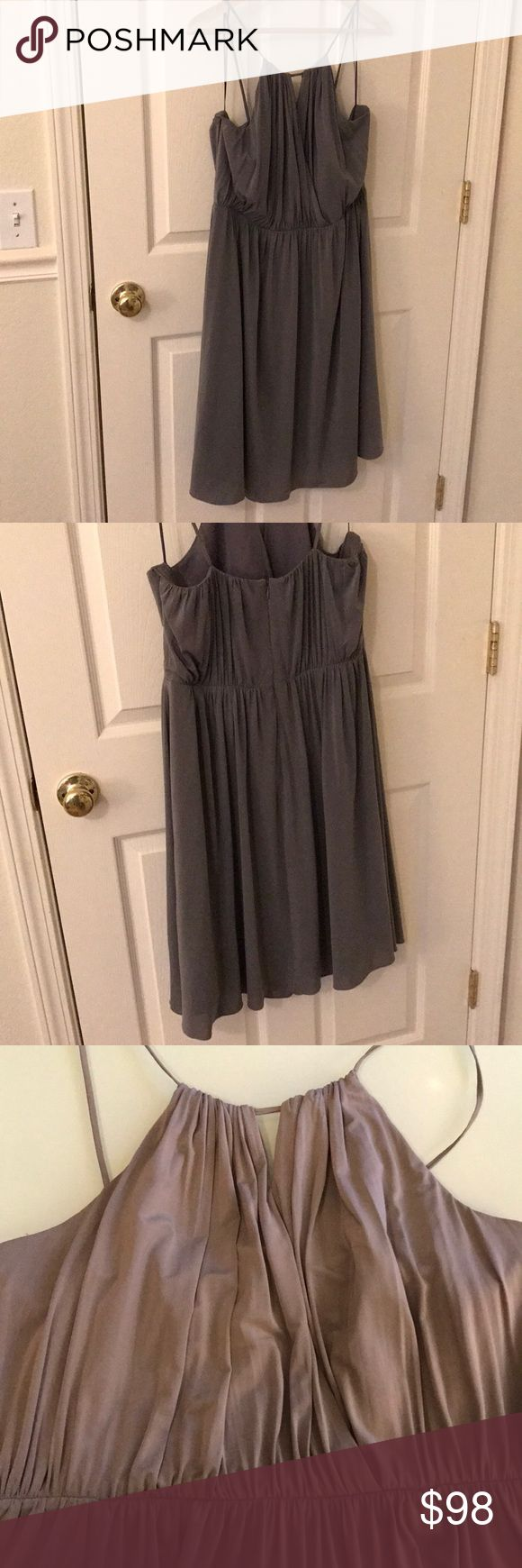 J. Crew Laila Dress Mercury Grey Size 12 J. Crew Laila Dress in liquid jersey. Super comfy and flowy.  Color: Mercury Grey EUC.   Perfect for a wedding or night out or pair with a black blazer for the office.  Accepting reasonable offers J. Crew Dresses