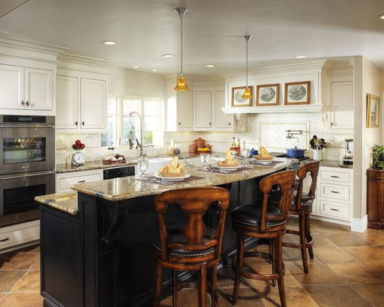 Kitchen two tone cabinets design pictures remodel decor for Traditional kitchen designs with islands