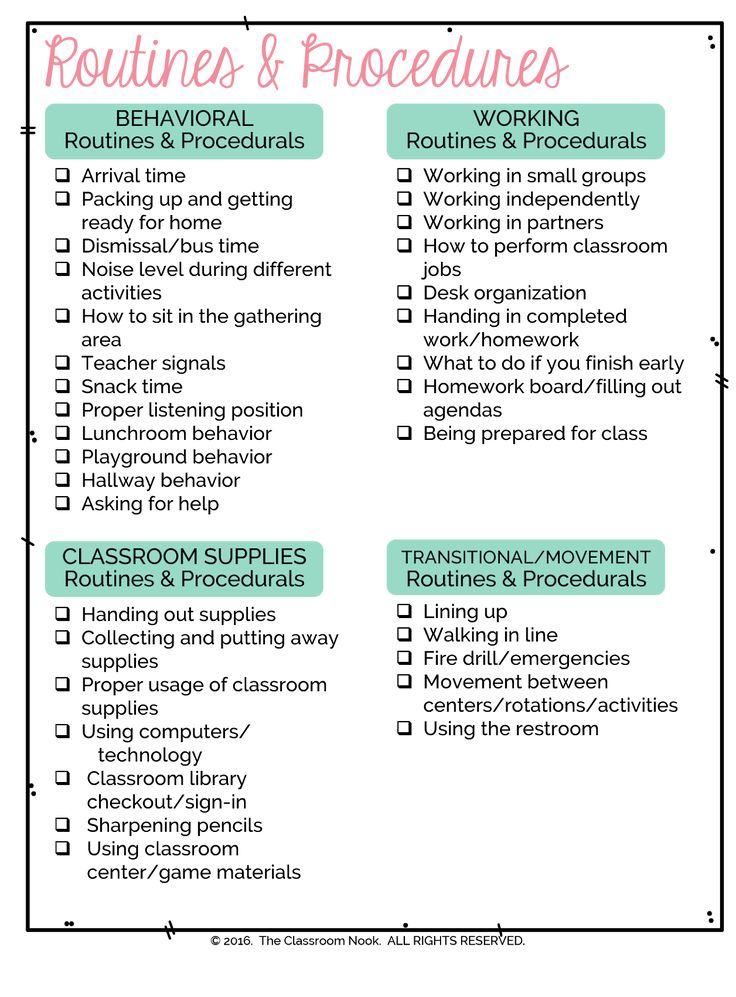 Teaching routines and procedures is essential during the first few weeks of school.  Download the FREE CHECKLIST to make sure you're covering them all! www.classroomnook.com #backtoschool