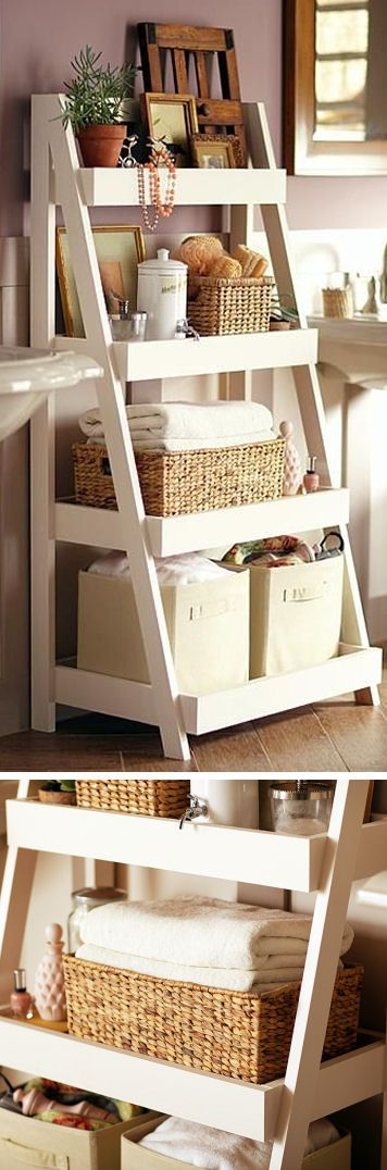 DIY Bathroom Storage Shelves #DIY #storage #organization