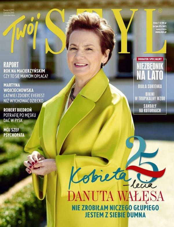 Danuta Wałęsa – First Lady of Poland in La Mania's Ludmila coat on the cover of the 25th anniversary issue of Twój Styl magazine #LaMania #TwojStyl