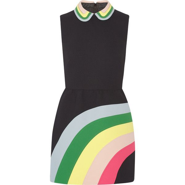 REDValentino Appliquéd cady mini dress (17,695 MXN) ❤ liked on Polyvore featuring dresses, valentino, black, collar dress, red valentino dress, short dresses, multicolored dress and colorful cocktail dresses