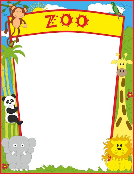 A page border featuring zoo animals. Free downloads at http://pageborders.org/download/zoo-border/
