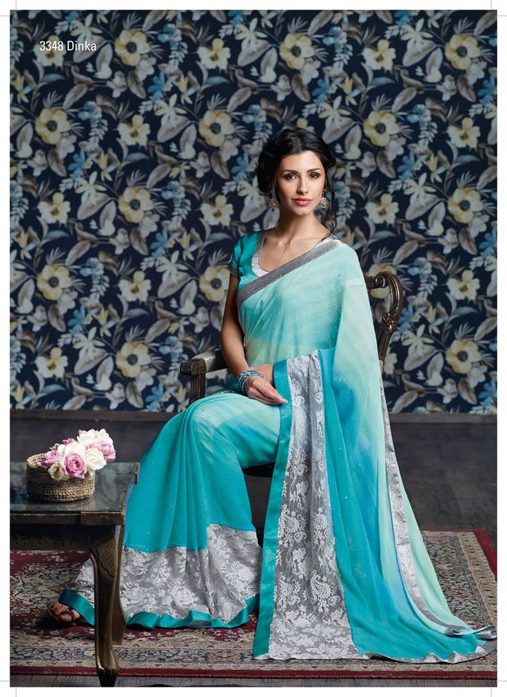 Sky blue pedding chiffon fabri amalgamate with gray embroidery net & diamond lace, this mixture makes the saree more charming!...
