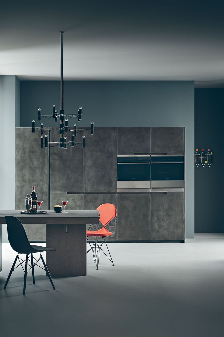 Zampieri - #Fifty kitchen with metal finished tall units.