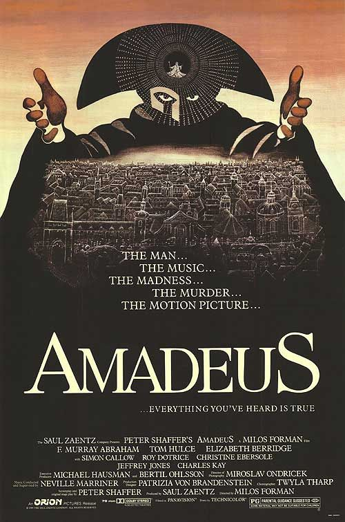 Amadeus is a 1984 American period drama film directed by Miloš Forman and written by Peter Shaffer. Adapted from Shaffer's stage play Amadeus (1979), the story is a variation of Alexander Pushkin's play Mozart i Salieri, in which the composer Antonio Salieri recognizes the genius of Mozart but thwarts him out of pride and envy. The story is set in Vienna, Austria, during the latter half of the 18th century. The film was nominated for 53 awards and received 40, including eight Academy Awards.