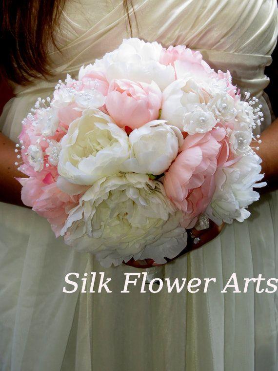 Very Cute  Wedding Bridal Bouquet -Silk Flowers-Peony-Pink and White Peony. $40.00, via Etsy.