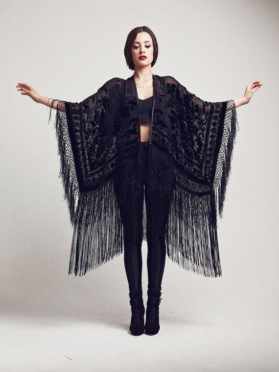 Velvet Fringe Kimono  The Black Rose by shevamps