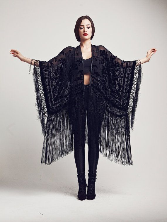 B L A C K - R O S E - F R I N G E - K I M O N O Bewitch yourself in this epic deep black floral fringe devore kimono. Featuring burnout velvet ornate