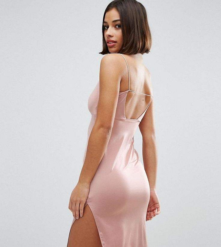 ASOS PETITE Slinky Midi Dress With Strappy Tie Back - Gold