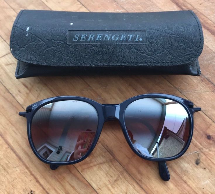 Serengeti Sunglasses Corning Optics Mirrored Lens Navy Blue + Case Retro   eBay