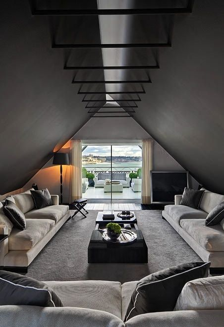 """#interiors I love the way the gable does not """"meet"""" in the usual sense; thereby allowing a unique way of letting more light into a dark """"a-frame"""" type space. The metal rods or bars are what connect, and strengthen, the two planes of the roof."""