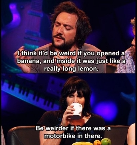 Never Mind the Buzzcocks: Peter Serafinowicz and Noel Fielding contemplating bananas