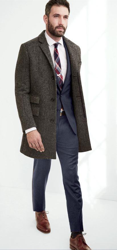Grey & Brown Tweed Overcoat, Lightweight Wool Ludlow Suit, and Plaid Tie, via JCrew. Men's Fall Winter Fashion.