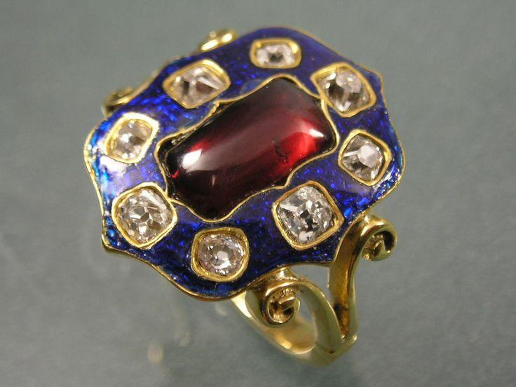 SUPERB ANTIQUE REGENCY EARLY 19THC GOLD DIAMOND BLUE ENAMEL GARNET PANEL RING