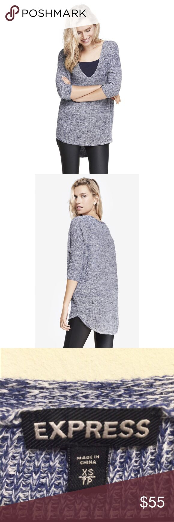 "✨Women's Blue Marled London Sweater✨ ✨""London sweater. Perfect timing, as this hi-lo look makes leggings totally user friendly, offering long backside coverage and soft style. Three quarter sleeves and dropped shoulders add drama to the cozy look. Cheers to easy! Rounded V neckline. Dropped shoulders with three quarter length sleeves. Vertical ribbed shaker stitch. Slimming stitch detail at waist. Hi-lo ribbed hem, back falls to just above knee. Cotton; Machine wash. Imported.""✨ Express…"
