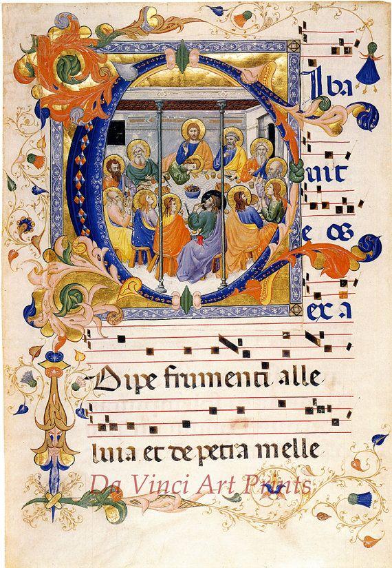 Fine Art Reproduction. Illuminated Manuscripts: The Last Supper in the Initial C, c. 1385. Fine Art Print