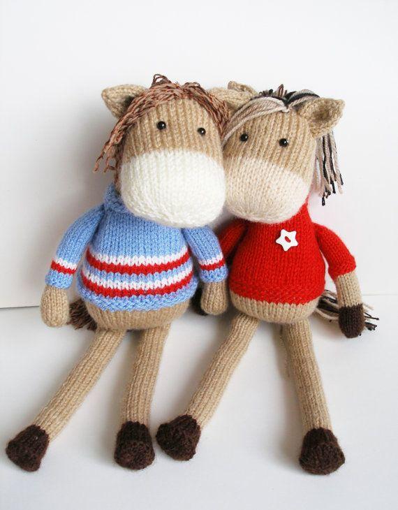 horse toy knit pattern digital downloads 2 needles