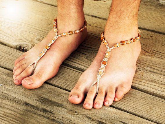 Jasper descalzo sandalias, joyería de los pies, hombres desnudos suela sandalias, zapatos de la playa de los hombres, sandalias de los hombres, hombres Soleless calzado, sandalias de cáñamo