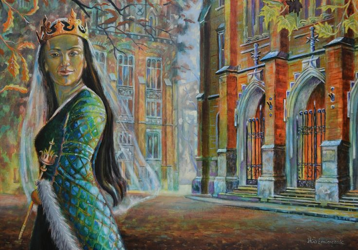"""Queen Jadwiga"" (Jadwiga Andegaweńska) Halina Kaźmierczak - oil painting on canvas, 70x100 cm"