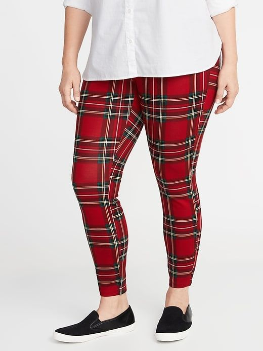 3a52dc68c3239 34.00 High-Rise Plus-Size Ponte-Knit Stevie Pants in Red Plaid