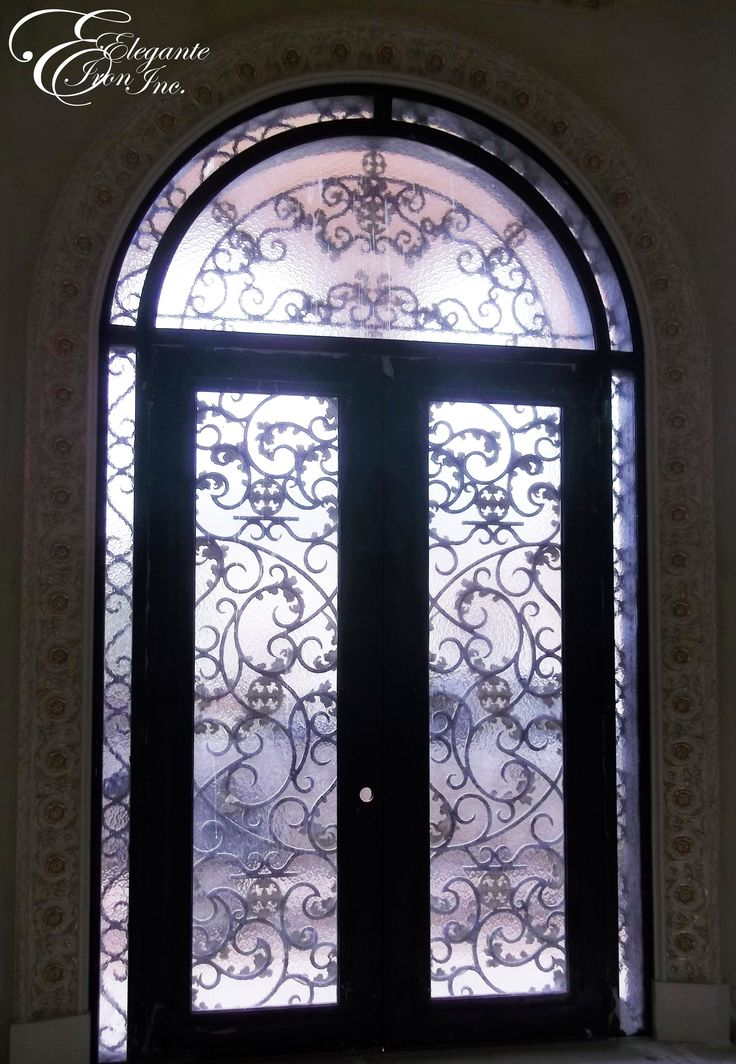 custom wrought iron front door with transom and surround