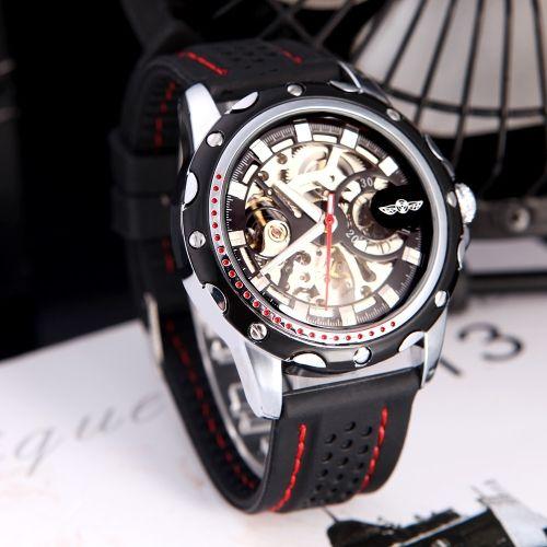 """Часы winner """"Скелетоны"""" Модные мужские Скелет Авто автоматические механические часы с классическим циферблатом дизайна Силиконовый браслет черный"""