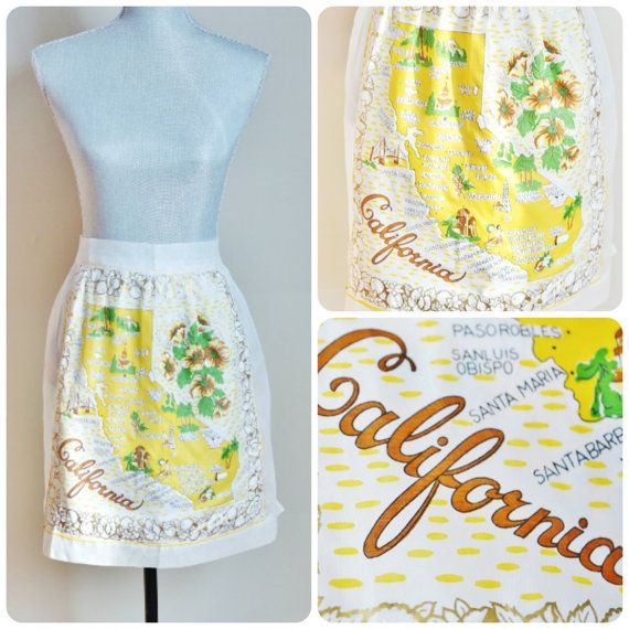 Vintage Sheer California Novelty Apron, 1950s, Cocktail Souvenir Apron, by EclecticLoveVintage