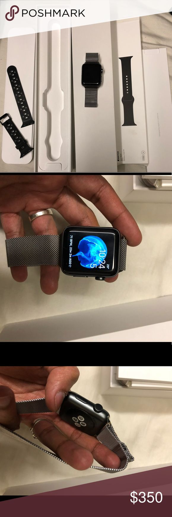 Apple Watch Series 2 42mm Apple Watch series 2 42mm Aluminum (looks dark gray). Price includes 3 bands. Still under warranty until June 18th, 2018. No issues, defects or scratches. Watch is 100% authentic and black band is authentic Apple.  Willing to sell bands separately just comment below. Any questions please ask.  Open to offers Apple Accessories Watches