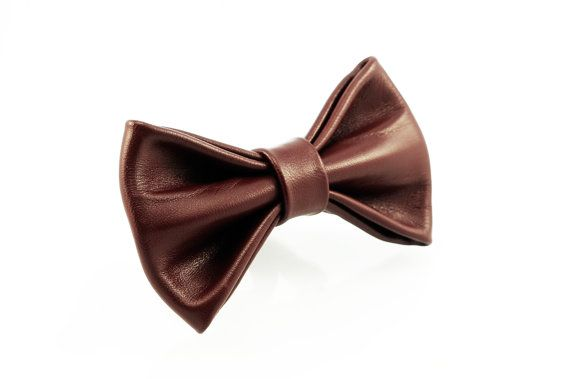 Classy leather burgundy bow tie by LimeG on Etsy
