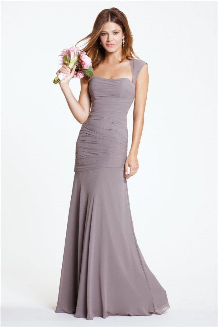 Fit Mermaid Sweetheart Open Back Long Slate Grey Chiffon Bridesmaid Dress With Straps