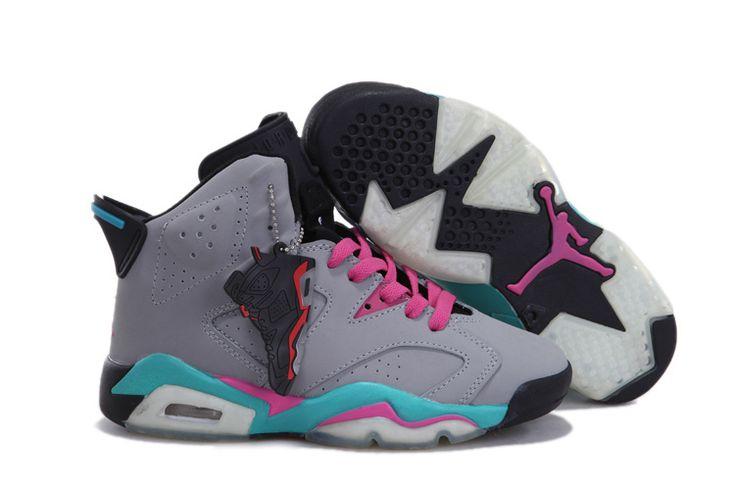 Authentic Nike Shoes For Sale Women Air Jordan 6 Miami Vice Grey Pink  [Women Air Jordans -