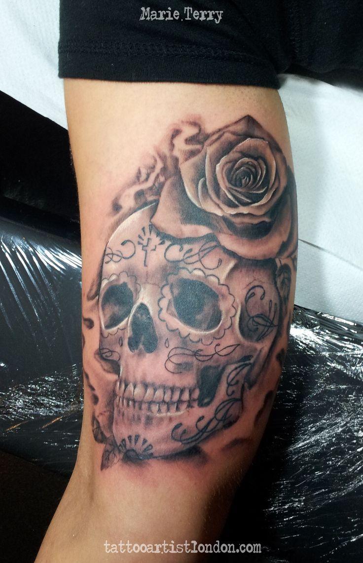 sugar skulls tattoos for guys | Realistic Sugar Skull Tattoo Sugar skull tattoo