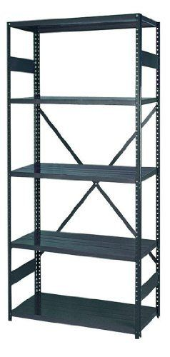 "Edsal 2912-5 Industrial Gray 22 Gauge Steel Commercial Open Type Shelving, 400lbs Capacity, 36"" Width x 75"" Height x 12"" Depth by Edsal. $84.13. For offices stores shops basement garages storerooms, wherever easy storage is required. 22 Gauge shelf holds up to 400lbs. Permanent baked enamel finish is fully rust resistant. Posts are punched at 1"" intervals for convenient shelf adjustments. Each unit is complete and can be moved independently. Shelves can be adjusted wi..."