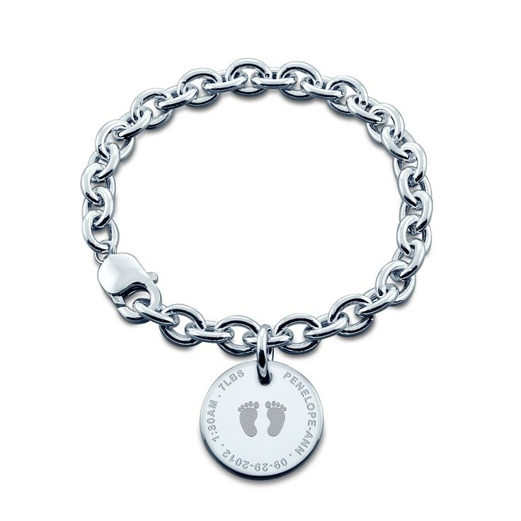 7/8 inch, Sterling Silver Baby Footprint Disc Charm Bracelet (Engravable)