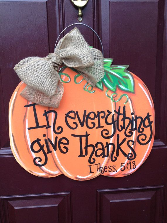 Welcome Fall with this big pumpkin door hanger! Hand painted on 1/4 plywood and…
