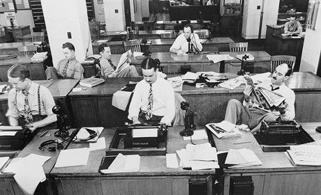 "New York Times newsroom - 1942.    Trinity Mirror has announced plans for ""significant changes to its publishing operations"" across its regional newsrooms, with a ""greater emphasis on the production of digital content""."