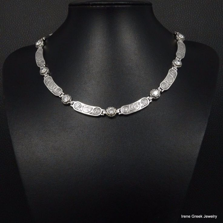 CUBIC ZIRCONIA BYZANTINE STYLE 925 STERLING SILVER GREEK HANDMADE ART NECKLACE #IreneGreekJewelry #Collar