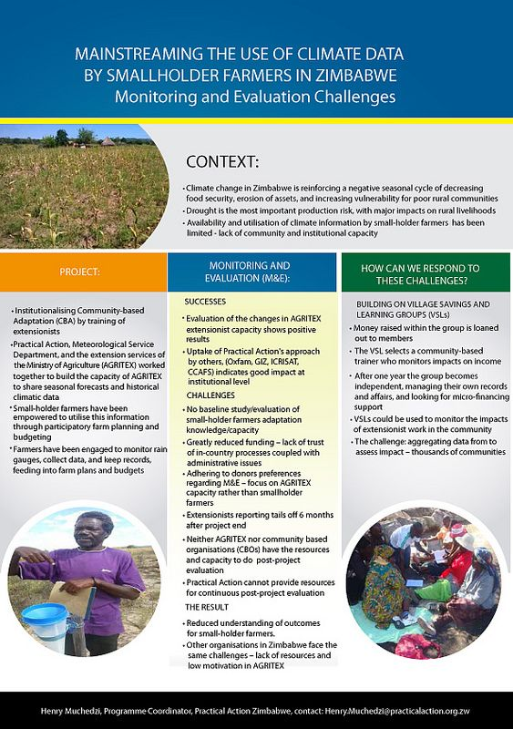 Practical Action: Mainstreaming the use of climate data by smallholders in Zimbabwe   This poster describes a joint project which aimed to improve the use of climate data by smallholders in Zimbabwe.    The project worked with Zimbabwe's agricultural extension service, AGRITEX, to improve its ability to share climate information with smallholder farmers. Farmers were then encouraged to use the climate data for planning and budgeting.    The poster also highlights the challenges of…